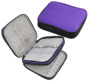 Hz.Codelo Organiser Zipper Storage Bag Case Hold for Crochet Hooks and Accessories,(No Accessories Included)-Dark Purple