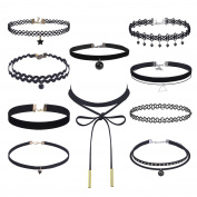 Mudder Choker Necklaces Stretch Tatto Choker for Women Girls, Black, 10 Pieces