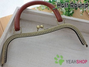 Antique Brass Half Round Embossed Purse Frame with Handle - 26cm / 10 inch
