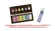 Kuretake Gansai Tambi Pearl Colours 6 Colours Set (MC20PC/6V) + JEINDEER Arts Water Brush Pen Assorted Tips Pack of 3