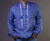 EASTER GIFT IDEA!! HAND Mens Blue VYSHYVANKA LINEN SHIRT Grey Embroidered 2XL St. Patrick's Day GIFT SALE
