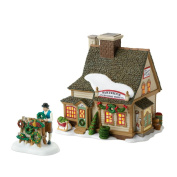 "Department 56 New England Village Annual ""Celebrate The Holiday"" Limited to 2010 Partridge Wreath Shop Lit House and Figurine Set"