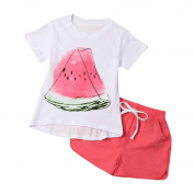 Kingko® Girl T-shirt Kid's Baby Girl Small Watermelon Print T-shirt Tops Tee T-Shirt+Shorts Baby Summer Outfits Clothes