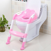 CALISTOUK Portable and Durable Children Potty Seat With Ladder Kids Toilet Folding Potty Chair Training,Pink