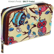 OILCLOTH WALLET LADIES OWL PRINT GIRLS PURSE POUCH HAND BAG COIN AND CARD HOLDER SKULL PRINT PURSE