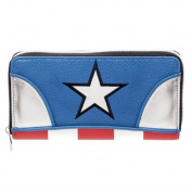 Official Womens Marvel Captain America Zip Around Clutch Purse Wallet - Ladies
