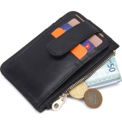 Contacts Genuine Leather Card Case Wallet with Photo Holder Coin Pocket Black