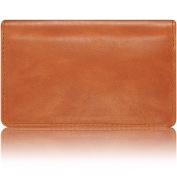 "KAVAJ Leather Business Card Holder Case Wallet ""Singapore"" cognac - Genuine Leather"