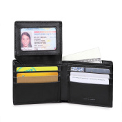 AECCEZ Men's RFID Blocking Genuine Leather Wallet - Excellent Travel Bifold - ID Credit Card Protector - RFID Blocking Wallets for Men AE112 Black