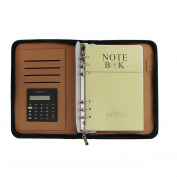BAO CORE All-purpose Faux Leather Zipped Conference Folder Executive Portfolio Notebook Business Meeting Notepad Folder With Calculator/Name Card Slot, Blue