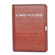 Gullor PU Leather Business Journal Name Card Holder Book for 120 cards, Red Brown