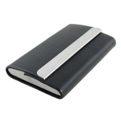 Sourcingmap Faux Leather Coated Metal Business Card Holder - Black