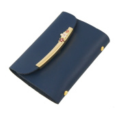 Sourcingmap Faux Leather Metallic Decor Business Card Holder - Midnight Blue