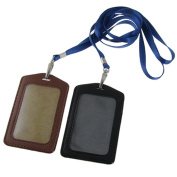 Sourcingmap Faux Leather Business Id Badge Card Holder - Black/Brown