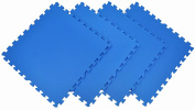 Wonder Mat Non Toxic Extra Thick Waterproof Exercise Gym Mats (Set of 4), Blue, 0.6m x 0.6m