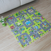 Meitoku Baby play Puzzle Floor mat,9pcs/bag,Each piece=12x12cm Thick 3/8""