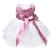 TiaoBug Infant Baby Toddler Girls Pearl Neck Sleeveless TuTu Dress Princess Baptism Pageant Birthday Party Dress with Waistband