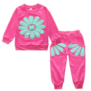 Per 2pcs Set Baby Girls Clothes with Lovely Sunflower Pattern, 100% Cotton, Top + Trousers for 1-3 Years Old Baby