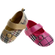 Soft Touch Tartan Shoe with Strap and Buckle Detail. Cute Soft Gripper Sole for Baby Girl. Available in sizes 0-12 months; 0-3mths (0) 3-6mths (1) 6-12mths (2) Beige or Pink