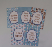 Premature Baby Milestone Cards - Blue Retro