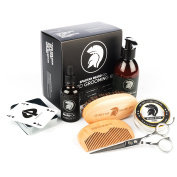 Spartan Beard co - Beard Grooming Kit - Premium Gift Set Includes Beard oil, Balm, Shampoo, Boar Bristle Brush, Comb, Stainless Steel Scissors- Branded Playing Cards - Packaged in Gift Box and Cotton Draw String Wash Bag. The best Gift For any Bearded Man