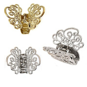 Set of 3 Metal GOODY IRIS CLAW CLIPS HAIR ACCESSORY 2 SILVER + 1 GOLD CLIP 4 x 5 cm