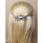 6607 9cm Glass crystal flower & leaf barrette hair clip Wedding Bride Races Prom