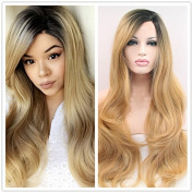 premium blonde ombre wig with short dark roots long natural body wave synthetic lace front wigs heat resistant fibre