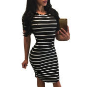 Bluester Women Stripe Short Mini Dress Cocktail Party Evening Bodycon Dress