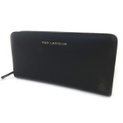 Wallet + chequebook holder zipped leather 'Ted Lapidus'black.