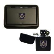 Matte black Masonic tobacco tin and stormproof petrol lighter