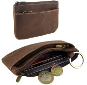 Ladies Mens Quality Distressed Oiled Leather Credit Card Holder & Coin Zip Purse