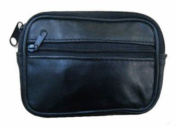 Black Leather Wallet Purse Zipped For Coins Keys by London Heritage