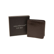 Equilibrium Brown leather Mens Coin Purse wallet - gift boxed