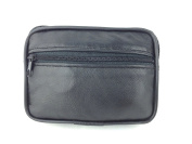 LADIES MENS BOYS GIRLS SOFT LEATHER BLACK ZIPPED COIN CHANGE WALLET PURSE NEW