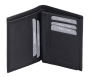 Avanco Men's Leather ID Card Holder 13 x 10 x 1,5 cm Black