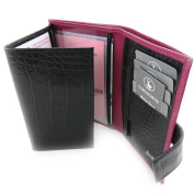 Leather wallet 'Frandi' fuschia black (york / croco) (3 components).