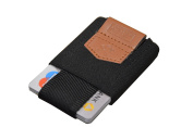 """MakakaOnTheRun Mini Wallet """"Stretch"""", 4 to 10 cards, Elegant black, handcrafted"""