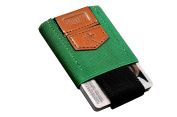 "MakakaOnTheRun Mini Wallet ""Stretch"", 4 to 10 cards, Meadow Green, handcrafted"