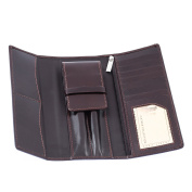 Genuine Leather Pen & Bank Cards Travel Case in Dark Brown Colour
