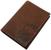 Buffalo full leather ID card holder with deer- or wild boar-motif in brown