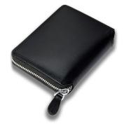 Lackingone Billfold Wallet Slim RFID Blocking Anti Theft 12 Card Slots with Money Clip Zip-Around Genuine Leather Black 12.5*9.5*2cm