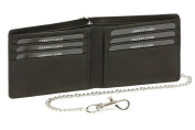"Biker ID & credit card holder with credit card slots and bill compartment with chrome chain LEAS, genuine leather, black - ""LEAS Chain-Series"""