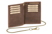 "ID Card Holder and Credit Card Holder with chain Biker card and ID holder LEAS MCL, Genuine Leather, brown - ""LEAS Chain-Series"""