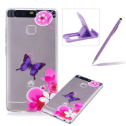 For Huawei P9 [Perfect-Fit] Clear Case,For Huawei P9 TPU Silicone Soft Gel Bumper Case Cover,Herzzer Fashion Stylish Ultra Slim [Colourful Printed] Full Protection Bumper Scratchproof Flexible Rubber Jelly Protective Back Cover Case for Huawei P9 + 1 x ..
