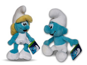 The Smurfs Pack 2x Soft Toys 30cm Smurfette & Classic Smurf Doll Blue Skin Plushie