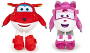 Super Wings Pack 2x Soft Toys Jett & Dizzy 18cm Red Jet Pink Helicopter Supersoft Plush Doll Plane Serie