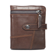 VANCOO Mens Vintage Bifold Leather Wallet Card Holder with Coin Pocket - Coffee
