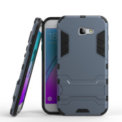 For Samsung Galaxy A7 (2017) Case, Ougger Shock Absorption Kickstand Cover Tough PC + Soft TPU Cushion Rubber 2in1 Extreme Protection Back Gear Rear Black