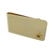Gold Plated Square and Compass Masonic Symbol Money Clip